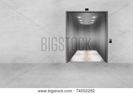 Concrete Wall And Open Elevator Door