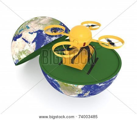 Drone, Elements of this image furnished by NASA