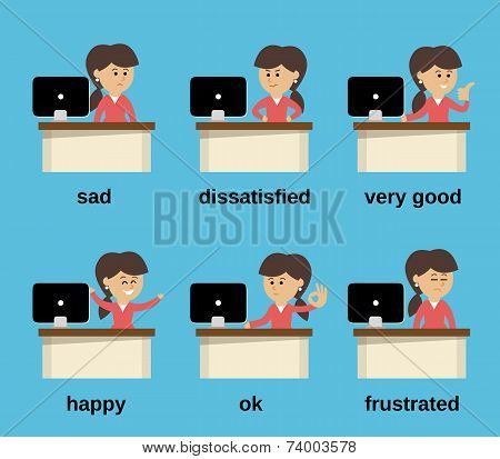 Businesswoman working emotions set