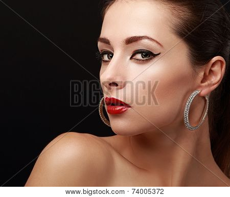 Beautiful Bright Woman Makeup. Black Eyeliner And Red Lips. Closeup