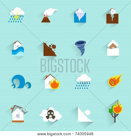 Natural disaster icons flat