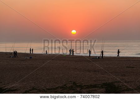Fishing Sunrise Beach Ocean