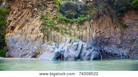 Flowing River At Alcantara Gorge