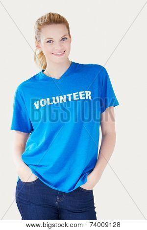 Studio Portrait Of Woman Wearing Volunteer T Shirt