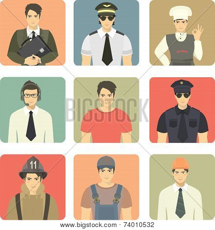 Set Of Avatars People Occupations