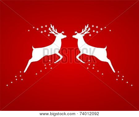 Reindeer silhouettes on a red background