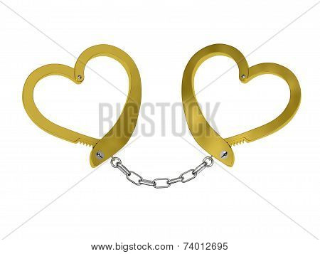 Golden Handcuffs Of Love Isolated On White