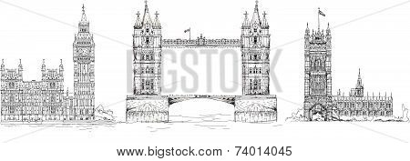 Sketch collection of famous buildings. London, Tower bridge, Big Ben