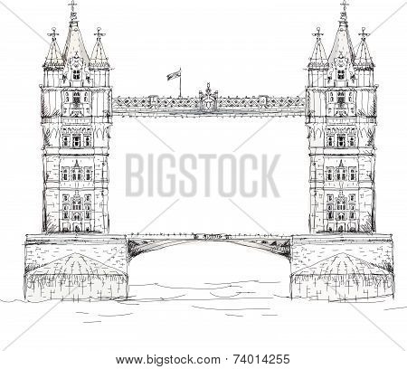 Sketch collection of famous buildings. London, Tower bridge