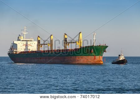 Bulk Carrier And Tug Boat In The Black Sea