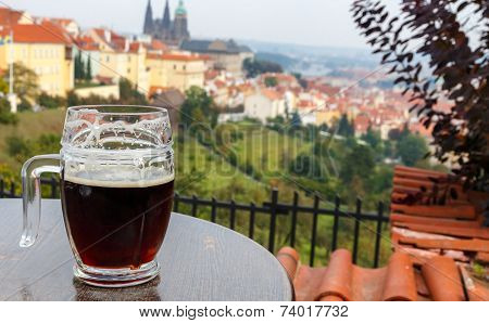 Czech Republic. Prague. View Of Prague Castle From The Terrace Petrin Hill