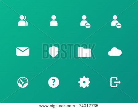 User Account icons on green background.