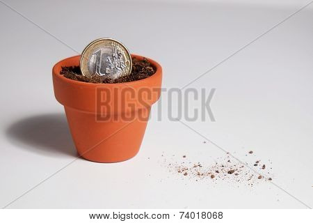 Euro coin planted in a pot (debris)