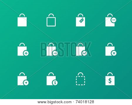 Shopping bag icons on green background.