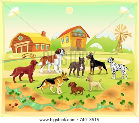 Landscape with group of dogs. Vector cartoon illustration.