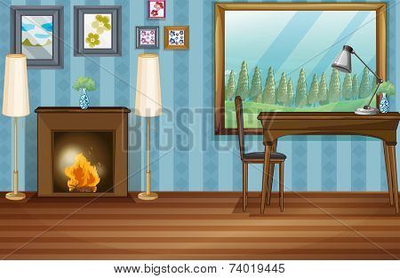 Illustration of a study room with fireplace