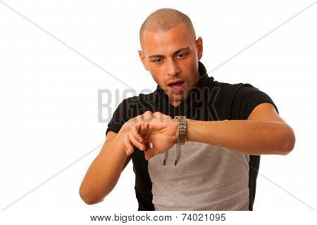 Young Man Gesture Being Late Watching On Watch Isolated Over White Background