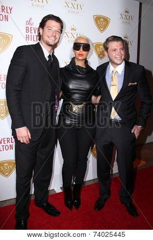 LOS ANGELES - OCT 16:  Kegan Klein, Amber Rose, Nicholas Cowherd at the XXIV Karat Launch Party at Beverly Hilton Hotel on October 16, 2014 in Beverly Hills, CA