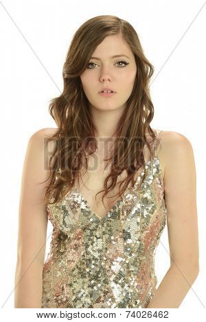 Beautiful young woman wearing a night dress isolated on a white background