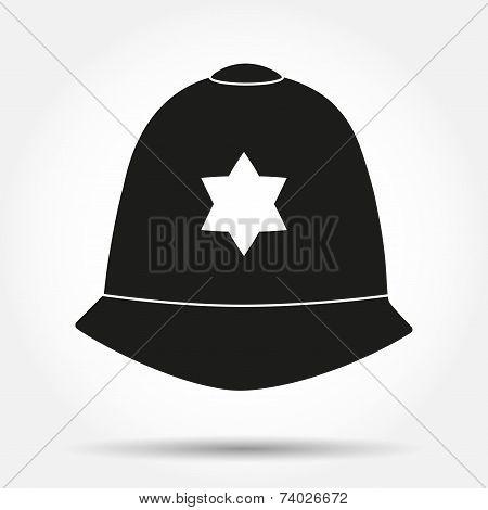 Silhouette symbol Traditional helmet of metropolitan British police