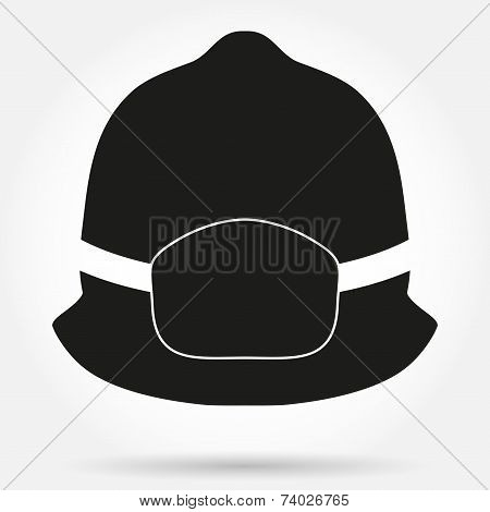 Silhouette symbol of fireman helmet vector illustration