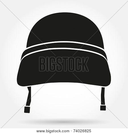 Silhouette symbol of Military helmet