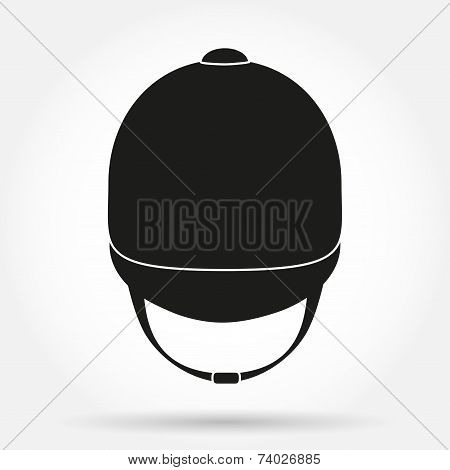 Silhouette symbol of Jockey helmet for horseriding athlete