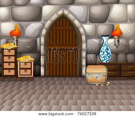 Illustration of a room full of treasure