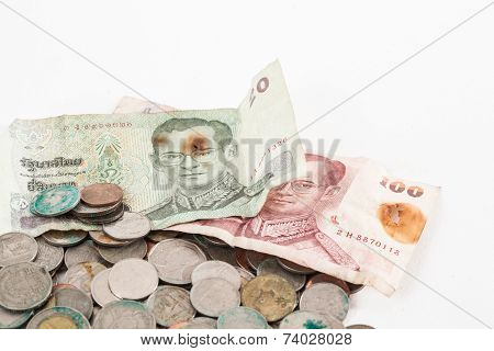 Dirty Coins And Old Banknote