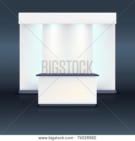 Exhibition stand with screen and blue illumination.