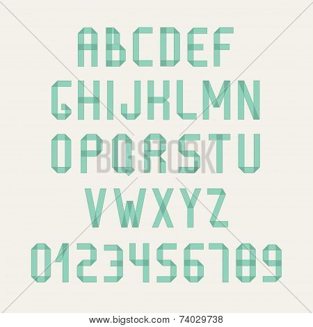 Simple colorful font. Complete abc alphabet set. Vector letters and numbers. Doodle typographic symb