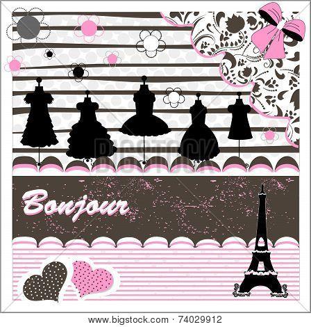 Scrapbook elements clothes.  color full Paris