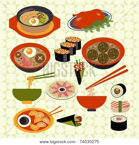 Asian Food Japanese Dishes - Illustration