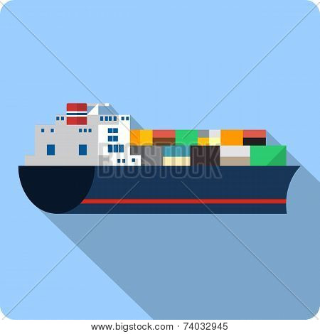 Vector Cargo Ship with Containers
