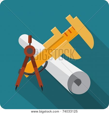 Blueprint Roll of Paper ,Caliper, Engineers Compass