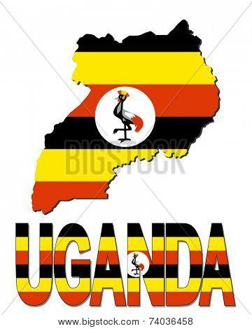 Uganda map flag and text vector illustration