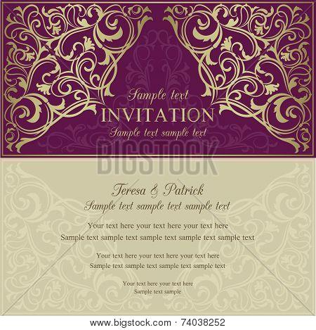 Orient invitation, purple and beige
