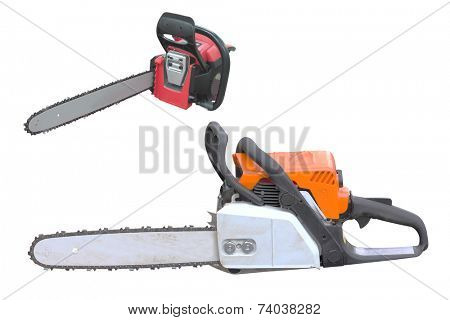 gasoline-powered saw under the white background