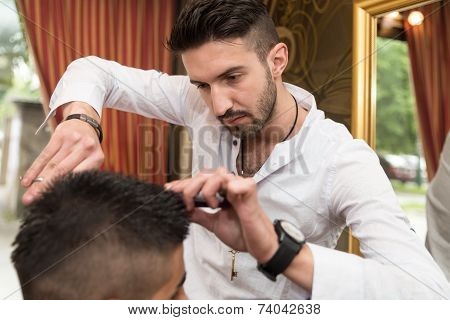 Hairdresser's Hands Cutting Hair
