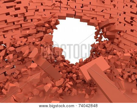 Broken Brick Wall With Hole.