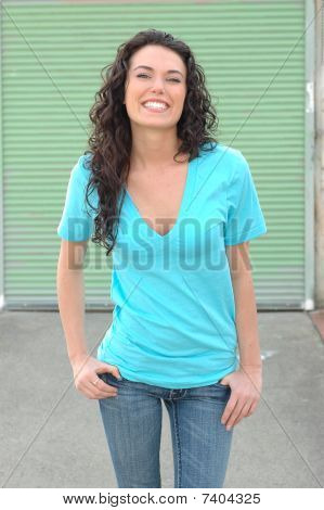 smiling young brunette female model