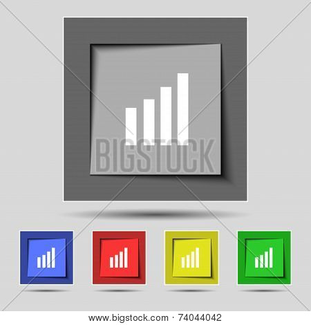 Mobile signal sign. Wi-fi symbol. Wireless Network icon. Wifi zone. Set of colour buttons. Vector