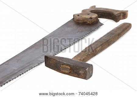 Image of handsaw and hammer