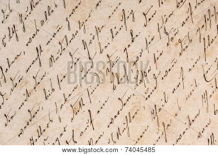 Vintage Handwriting. Grunge Paper Background