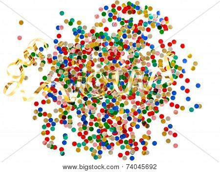 Colorful Assorted Confetti With Golden Serpentine On White Background