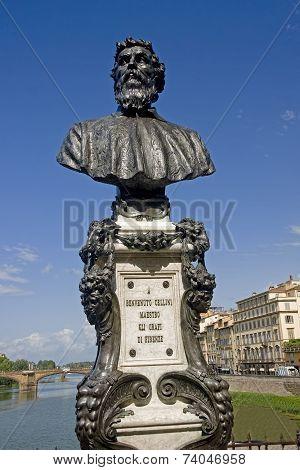 Statue Of Benvenuto Cellini, Ponte Vechio Bridge, Florence