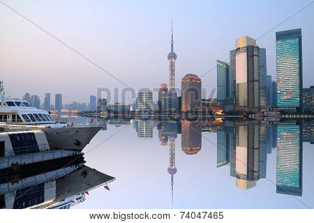 Skyline of Shanghai Huangpu River urban architecture