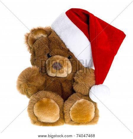 Cute Vintage Teddy Bear With Red Santa Hat