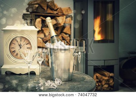 Home Interior With Champagne, Antique Clock And Fireplace