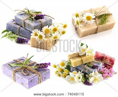 Soap Bars With Fresh Lavender, Chamomile And Jasmine Flowers